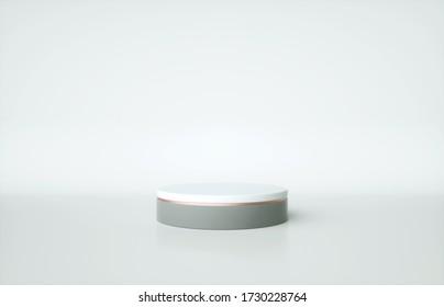 Cylinder pedestal with rose gold border isolated on white background. 3d render illustration