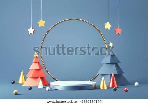 Cylinder podium and minimal abstract background for Christmas, 3d rendering geometric shape, Stage for product.