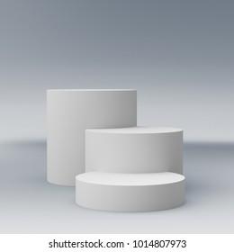 Cylinder Shape Display. 3D render