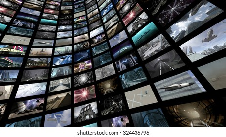 Cylinder video wall. 3D rendering