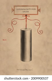 Cylinder. Watercolor painting on watercolor paper. Vintage effect. Geometric object. Art print for interior, gallery, digital screens etc. Extremely High quality image for printing. 600 dpi.