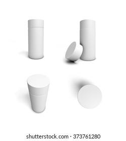Cylindrical cardboard packaging.