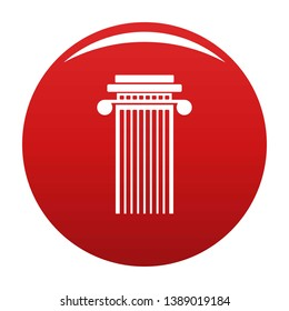 Cylindrical column icon. Simple illustration of cylindrical column icon for any design red