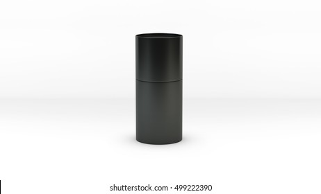 Cylindrical container black texture isolated on white background 3d rendering