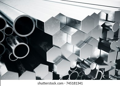 Cylindrical metal steel profiles, hexagonal metal steel profiles, square metal steel profiles. Different stainless steel products, 3D illustration