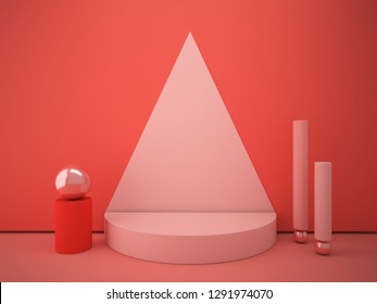Cylindrical podium with decorative geometric shapes. The focus on the podium is placed by a coral triangle on the wall. Minimal scene with geometrical forms.  Showcase to show a product. 3d render.