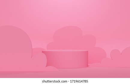 Cylindrical podium with wavy shapes on a pink background. Backdrop design for product promotion. 3d rendering
