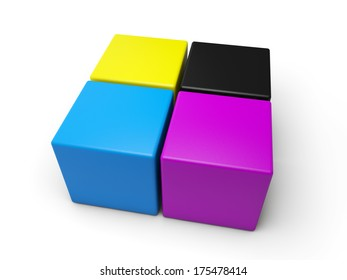 CYMK colored cubes over white background