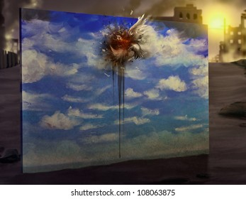 cynical digital painting of a bird flying into a wall that's painted to look like a sky