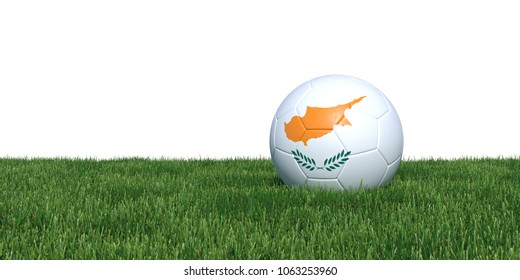 Cypr Cyprus Cypriot flag soccer ball lying in grass, isolated on white background. 3D Rendering, Illustration.