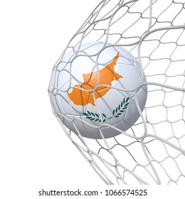 Cypr Cyprus Cypriot flag soccer ball inside the net, in a net. Isolated on white background. 3D Rendering, Illustration.