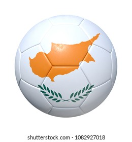 Cypr Cyprus Cypriot soccer ball with national flag. Isolated on white background. 3D Rendering, Illustration.
