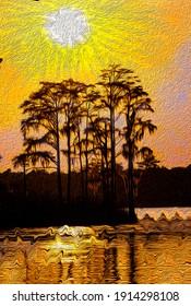 Cypress Point Painterly Sunset Swamp Scene