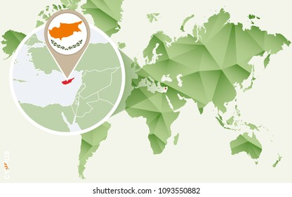 Cyprus, detailed map of Cyprus with flag. Raster copy.