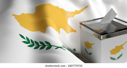 Cyprus elections concept. Ballot box on Cyprus waving flag background. 3d illustration