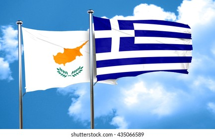 Cyprus flag with Greece flag, 3D rendering