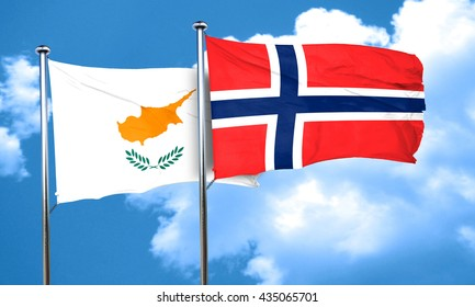 Cyprus flag with Norway flag, 3D rendering