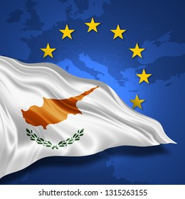 Cyprus flag of silk with copyspace for your text or images and european union flag background-3D illustration