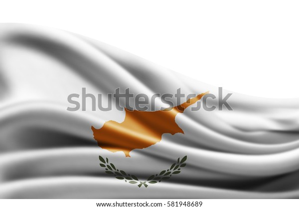 Cyprus flag of silk with copyspace for your text or images and white background -3D illustration