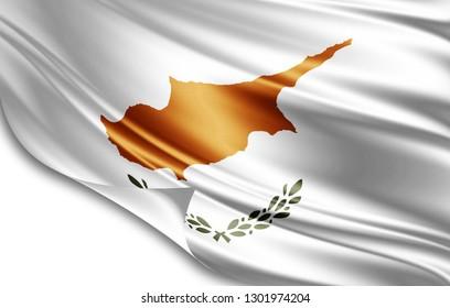Cyprus flag of silk-3D illustration