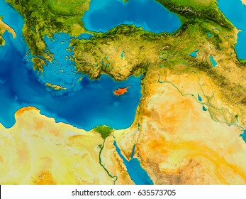 Cyprus highlighted in red on physical map. 3D illustration. Elements of this image furnished by NASA.
