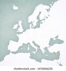 Cyprus on the map of Europe with softly striped vintage background.
