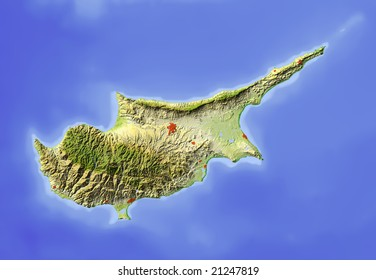 Cyprus. Shaded relief map.  Colored according to elevation and dominant vegetation, without political borders. Includes clip path for the island. Data source: NASA