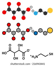 Cysteamine bitartrate Huntington's disease drug molecule. Conventional skeletal formula and stylized representation, showing atoms (except hydrogen) as color coded circles.
