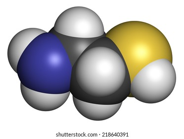 Cysteamine Huntington's disease drug molecule, as the bitartrate salt.  Atoms are represented as spheres with conventional color coding: hydrogen (white), carbon (grey), sulfur (yellow), etc