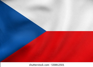 Czech national official flag. Patriotic symbol, banner, element, background. Correct colors. Flag of Czech Republic waving in the wind, real detailed fabric texture. 3D illustration