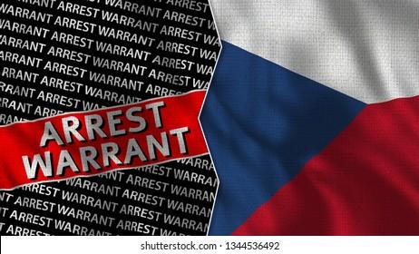 Czech Republic and Arrest Warrant Titles Flag Together - 3D illustration Fabric Texture