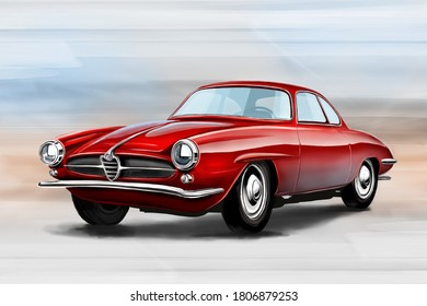 Czech Republic - August 16, 2020: Digital painting of vintage car Alfa Romeo Giulia Super Sprint.