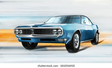 Czech Republic - August 16, 2020: American car Pontiac Firebird 1967. Digital painting postprocessed 3D render.