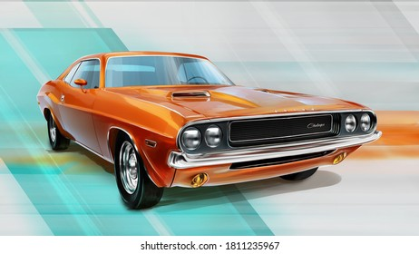 Czech Republic - August 16, 2020: Muscle car Dodge Challenger R/T 1970. 3D render with digital painting postprocessed.