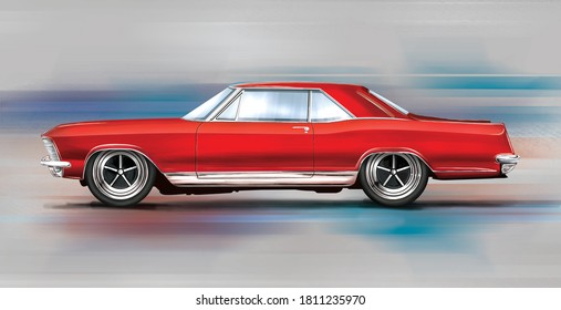 Czech Republic - August 16, 2020: Digital painting of vintage car 1965 Buick Riviera Gran Sport.