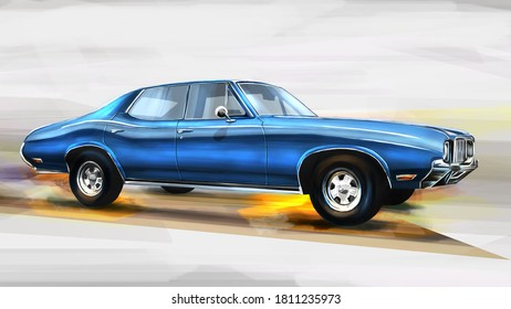 Czech Republic - August 16, 2020: American muscle car 1968 Oldsmobile Cutlass 442. Digital painting illustration.