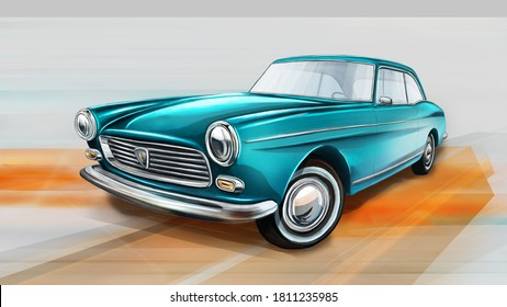 Czech Republic - August 16, 2020: European retro car form France - Peugeot 404. Digital painting illustration.
