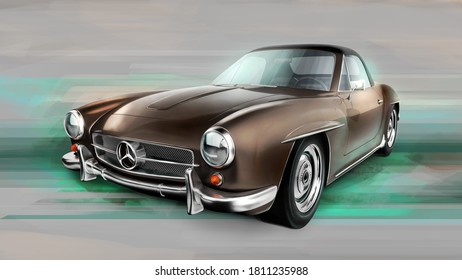 Czech Republic - August 16, 2020: Old car Mercedes Benz 190 SL. 3D render illustration with digital painting postprocess.