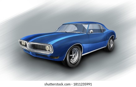 Czech Republic - August 16, 2020: American car Pontiac Firebird 1967. Digital painting illustration.