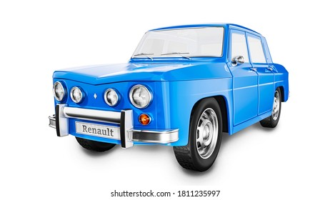 Czech Republic - August 16, 2020: European retro car form France - Renault R8. 3D render illustration.