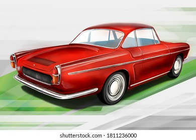 Czech Republic - August 16, 2020: European retro car form France - Renault Caravelle. Digital painting illustration.