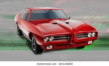 Czech Republic - August 16, 2020: Pontiac GTO, American muscle car. Digitally painted 3D render illustration.