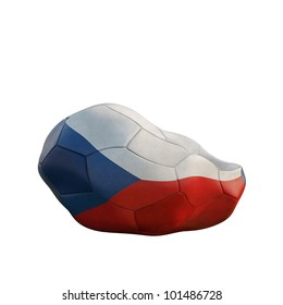 czech republic deflated soccer ball isolated on white