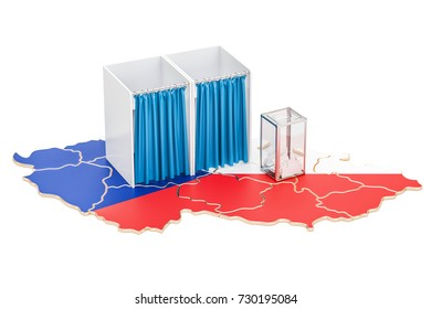 Czech Republic election concept, ballot box and voting booths on the map, 3D rendering