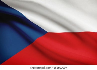 Czech Republic flag blowing in the wind. Part of a series.