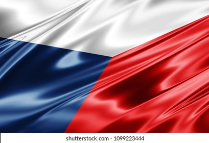 Czech Republic flag  of silk-3D illustration