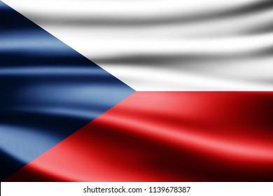 Czech Republic  flag of silk-3D illustration