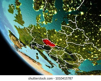 Czech republic from orbit of planet Earth at night with highly detailed surface textures with visible border lines and city lights. 3D illustration. Elements of this image furnished by NASA.