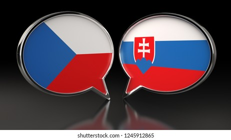Czech Republic and Slovakia flags with Speech Bubbles. 3D illustration