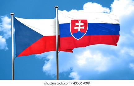 czechoslovakia flag with Slovakia flag, 3D rendering